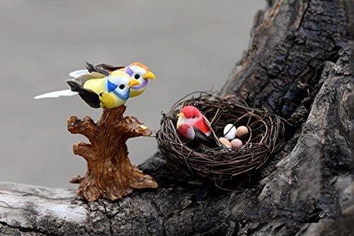 3 Tiny Nest with Eggs Miniature Handmade Figurine Tray Garden Decor Collectible