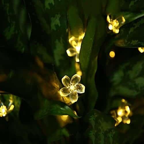 Skyfire Led Flower Fairy Lights 22ft 50 Led Blossom Solar Fairy Lights Solar Flower String Lights For Outdoor Garden Patio Warm White Teelie S Fairy Garden