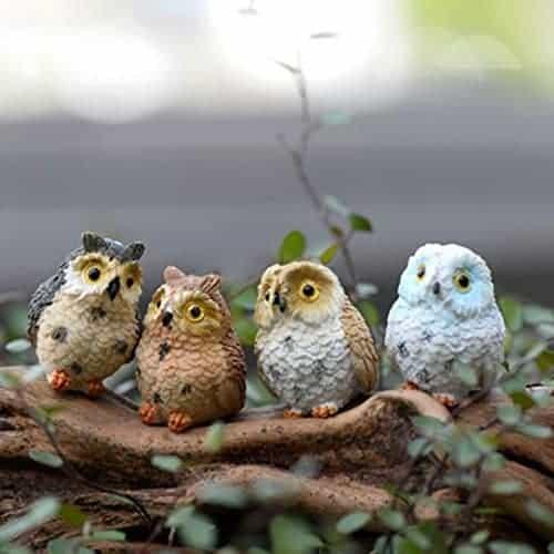 Miniature Dollhouse FAIRY GARDEN Figurine ~ Mini OWL Family Tree I LOVE Us