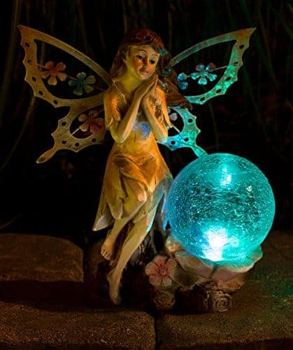 Fairy Solar Garden Light with Color Changing LED Crackled Glass Globe  Teelie\u0027s Fairy Garden