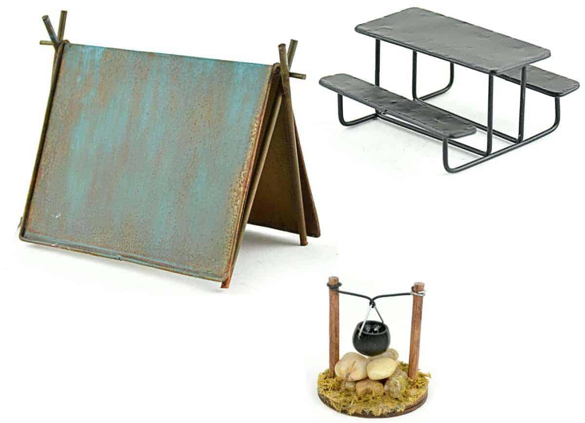 Miniature Garden Camping Set - DIY Kit For Fairy Garden Includes Tent, Picnic Table & Cooking Pot Over Fire Teelie