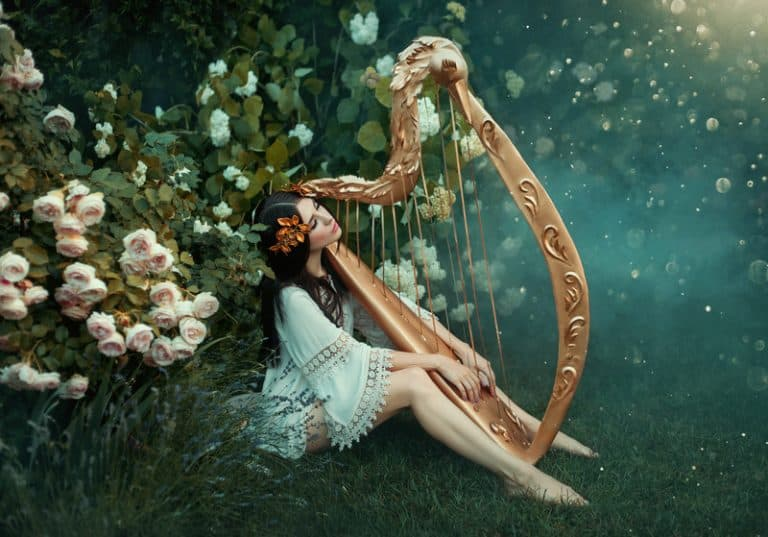 Fairy playing the harp
