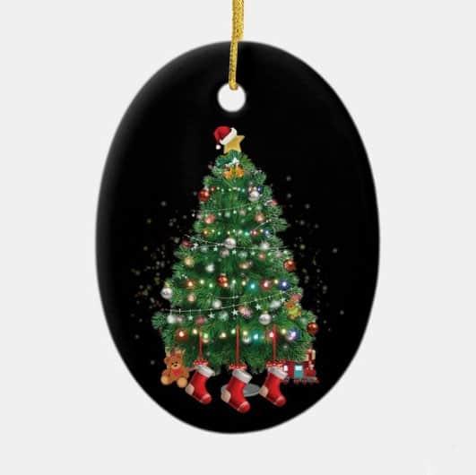 A North Pole Christmas Tree Ceramic Ornament