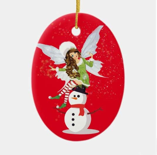 Fairy Merry And The Snowman Ceramic Ornament