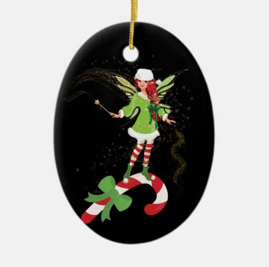 Fairy Merry And The Matching Candy Cane Ceramic Ornament