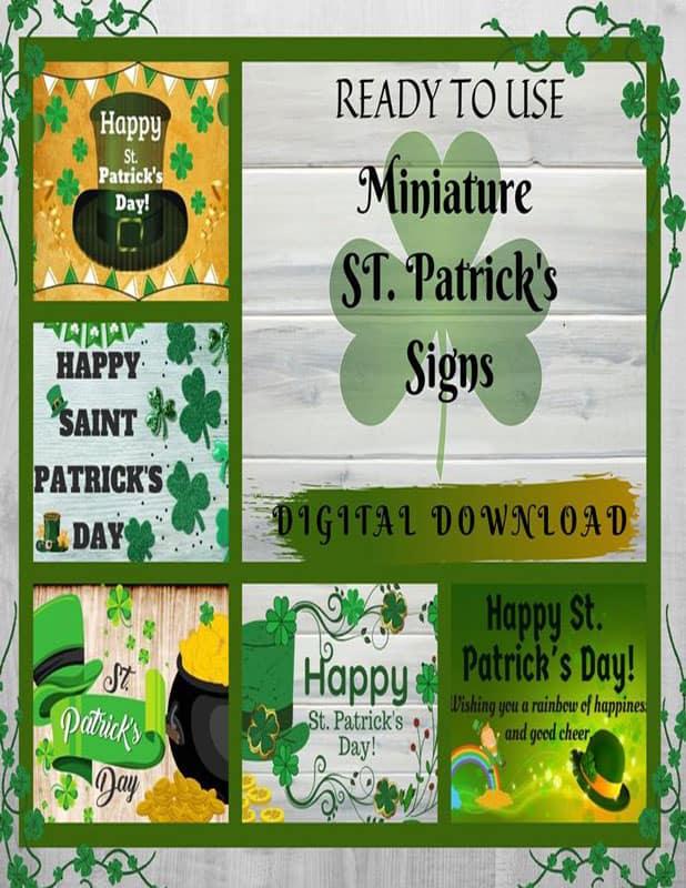 St. Patrick's Day Digital Downloadable Miniature Signs, Miniature, Fairy Garden, Dollhouse, Wee Folk, Pot Of Gold, Fairy Grden Signs