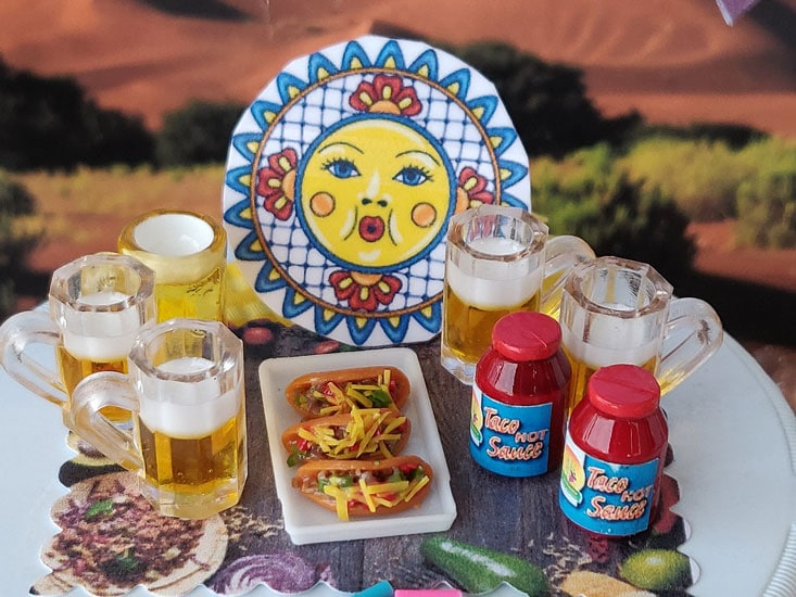 taco time! get your tacos, beer, and taco seasoning, miniature, fairy garden