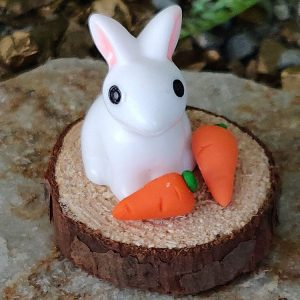 sweet white bunny with yummy carrots
