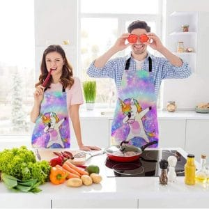 beabes rainbow unicorn kitchen bib apron