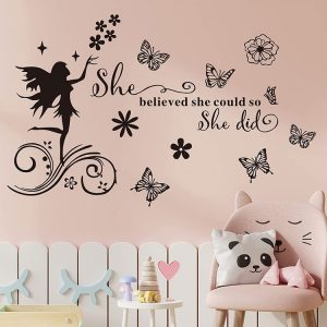 she believed she could so she did wall decals, quote sayings sign lettering fairy flowers and butterflies wall stickers