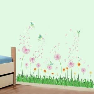 decalmile pink dandelion grass green plants wall corner decals