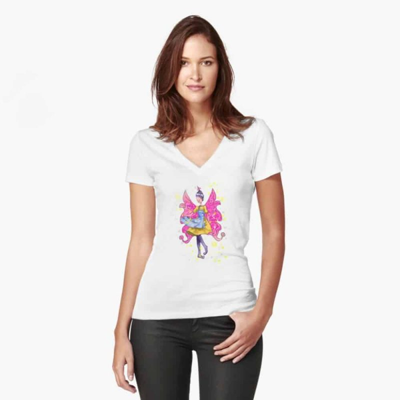 Abella The Apron Fairy™ Fitted V Neck T Shirt