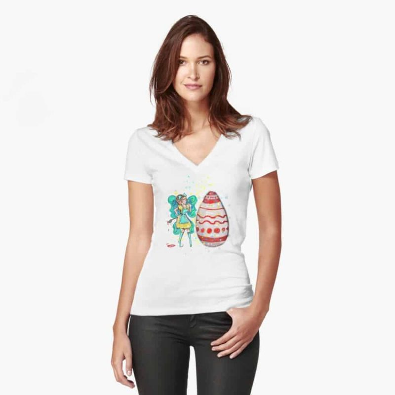 Eloiny The Easter Fairy™ Fitted V Neck T Shirt