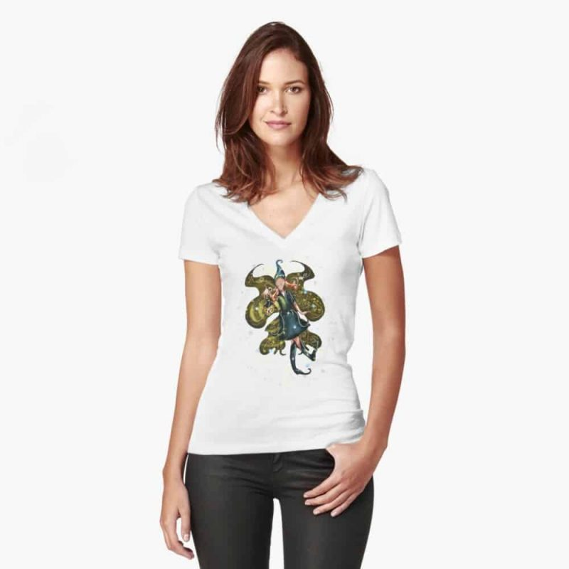 Leandra The Lamps, Lanterns Feeders Fairy™ Fitted V Neck T Shirt