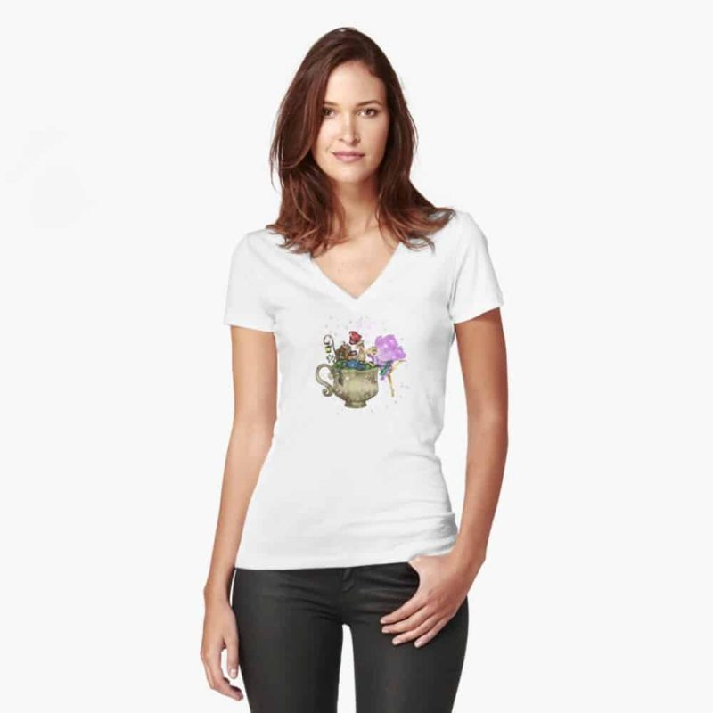 Tertia The Teacup Planter Fairy™️ Fitted V Neck T Shirt